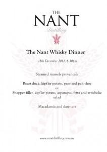 Whisky Dinner December 2012